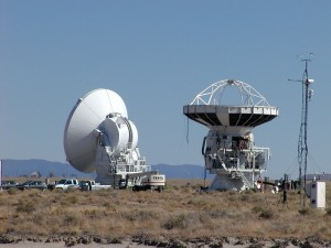 Prototypes of the kind of telescope used in ALMA, at the Jansky Very Large Array in New Mexico. When I took this photo, the prototypes were being actively dismantled for shipment to other sites.