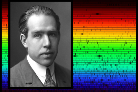 Danish physicist Niels Bohr, whose model of atoms helped explain the spectrum of light emitted and absorbed by different elements, as illustrated by the spectrum emitted by the Sun. [Credits: AB Lagrelius & Westphal, via Wikipedia (Niels Bohr photo); N.A.Sharp, NOAO/NSO/Kitt Peak FTS/AURA/NSF (solar spectrum); moi (composite)]