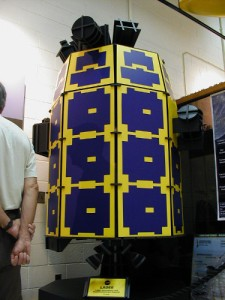 A full-size wooden mock-up of the Lunar Atmosphere and Dust Environment Explorer (LADEE). [Credit: moi]