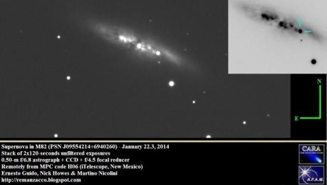 Two images of the supernova detected early this morning in M82, the Cigar Galaxy. The bright circle near the image center is the supernova, which you can see more clearly in the negative-color version at the right. [Credit: Ernest Guido, Nick Howes, Martino Nicolini]