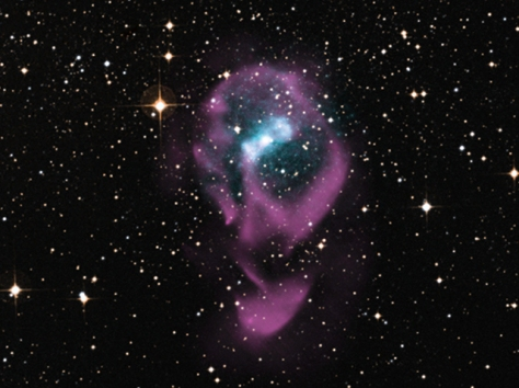 Chandra space telescope image of an X-ray binary system containing a neutron star. [Credit: X-ray: NASA/CXC/Univ. of Wisconsin-Madison/S.Heinz et al; Optical: DSS; Radio: CSIRO/ATNF/ATCA]