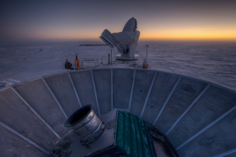 The BICEP2 telescope (foreground) with the South Pole Telescope (SPT) behind. [Credit: Steffen Richter (Harvard University)]