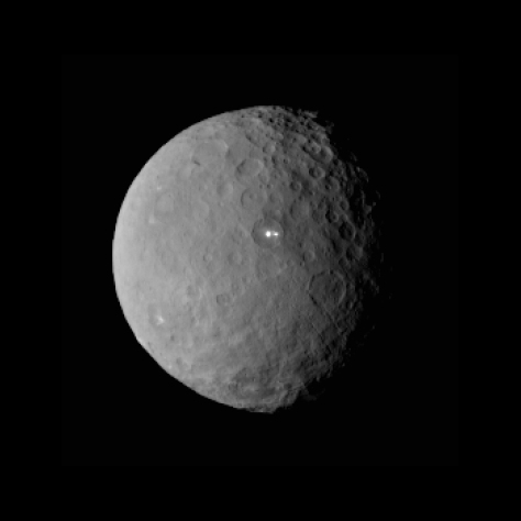 The asteroid dwarf planet Ceres, in a view showing the intriguing two bright spots. [Credit: NASA/JPL-Caltech/UCLA/MPS/DLR/IDA ]